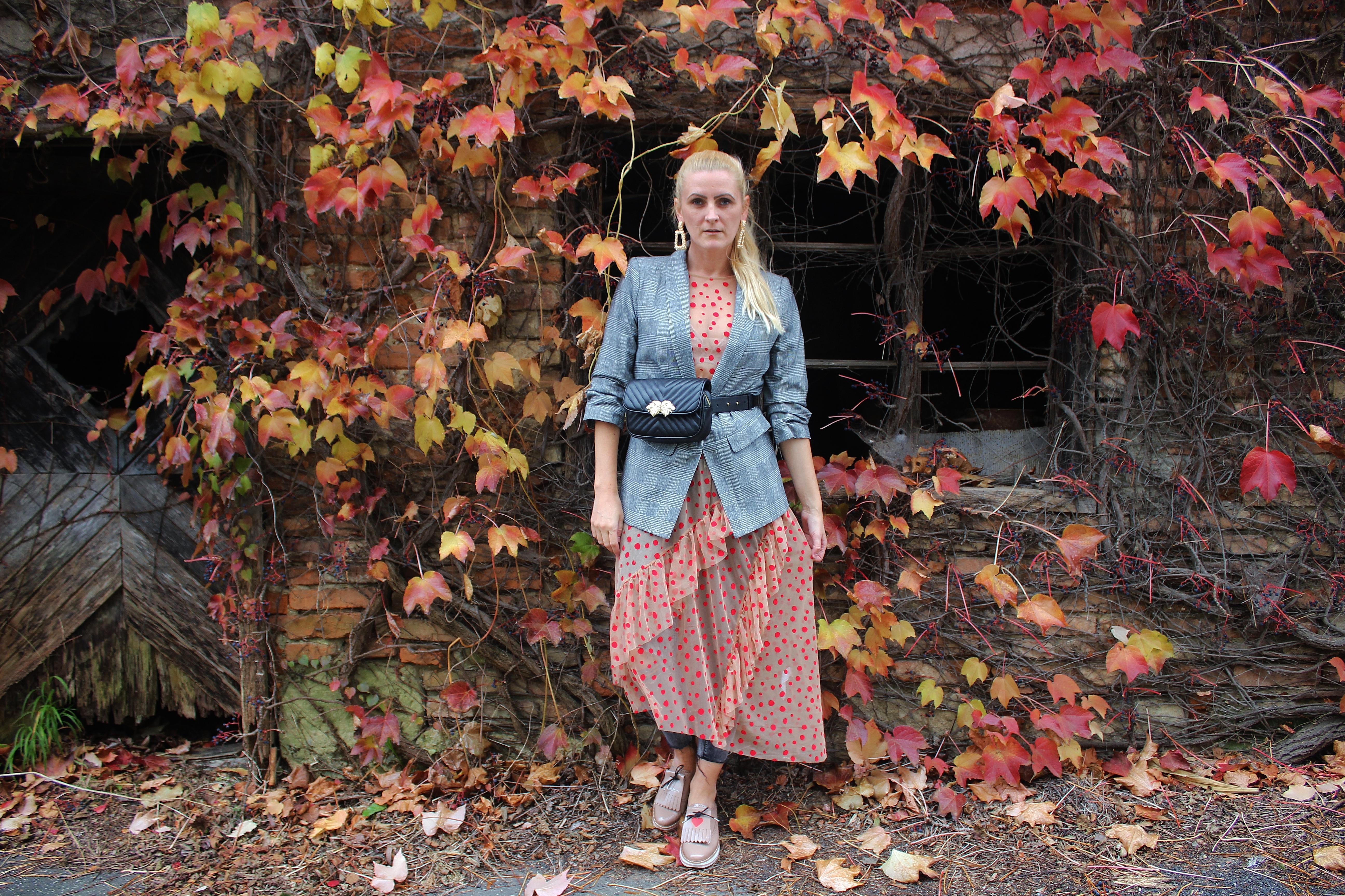 Karo-Blazer-Polka-Dots-Gürteltasche-Trendsetter-Zara-carrieslifestyle-Inspiration-Modeblogger-Tamara-Prutsch